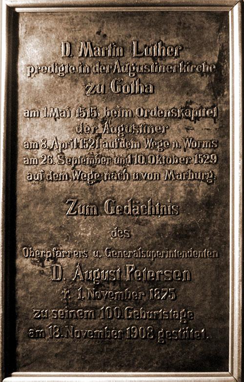 Die Gedenktafel für Luther im Augustinerkloster von 1908. (Foto: Matthias Wenzel)